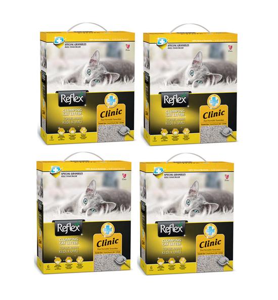Reflex Clinic Doğal Granüllü Kedi Kumu 6 Lt x 4 Adet