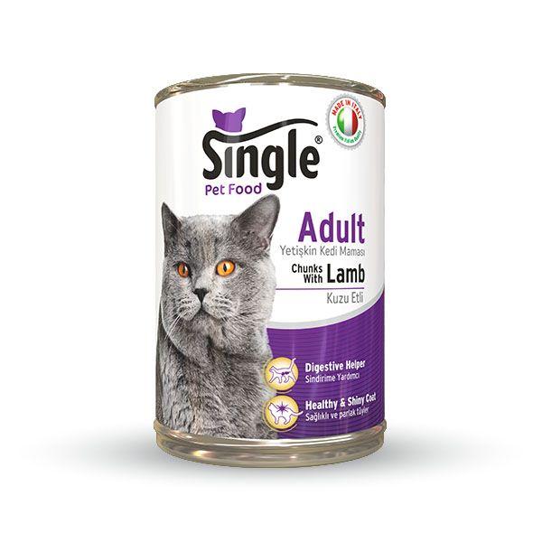 Single Kuzu etli konserve kedi maması 415gr