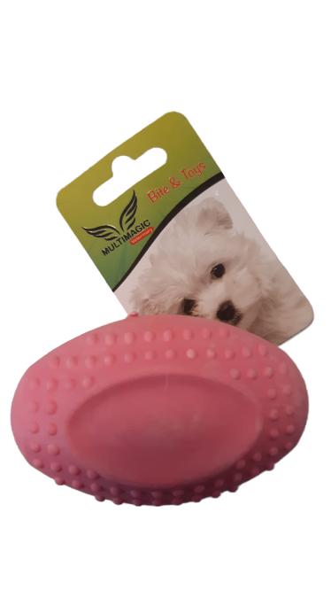 Multimagic Köpek Diş Kaşıma Oyuncağı Sert Oval Top Pembe 8 cm