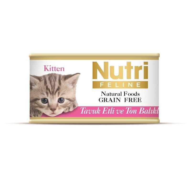 Nutri Feline Tavuk Etli ve Ton Tahılsız Yavru Kedi Kons 85 Gr