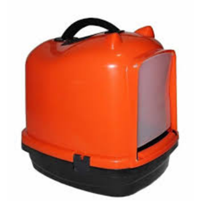 Pratik Comfort Kulaklı Kapalı Kedi Tuvalet Kabı Turuncu 49.5X40X50 cm