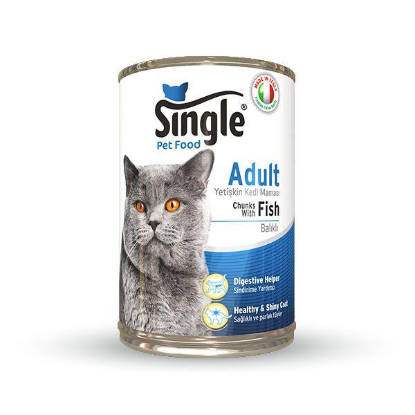 Single Balıklı Konserve Kedi Maması 415gr