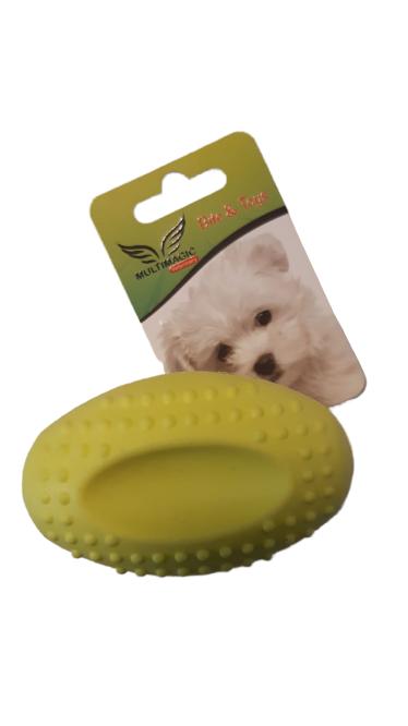 Multimagic Köpek Diş Kaşıma Oyuncağı Sert Oval Top Sarı 8 cm