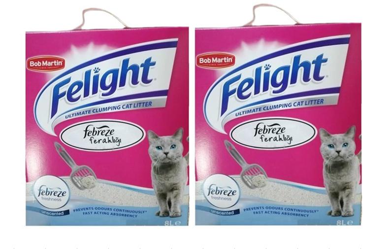 Felight Febreze Süper Premium Topaklanan Kedi Kumu 8 Lt x 2 Adet