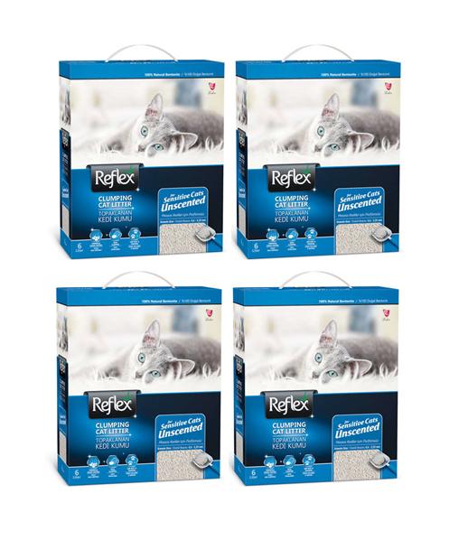 Reflex Sensitive Parfümsüz Hassas Kedi Kumu 6 Lt x 4 Adet
