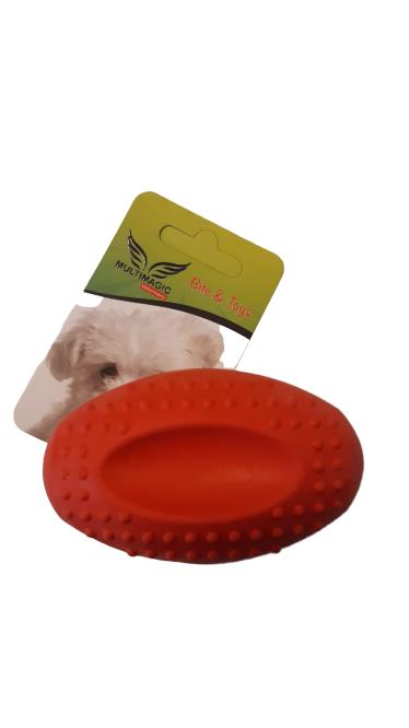 Multimagic Köpek Diş Kaşıma Oyuncağı Sert Oval Top Kırmızı 8 cm