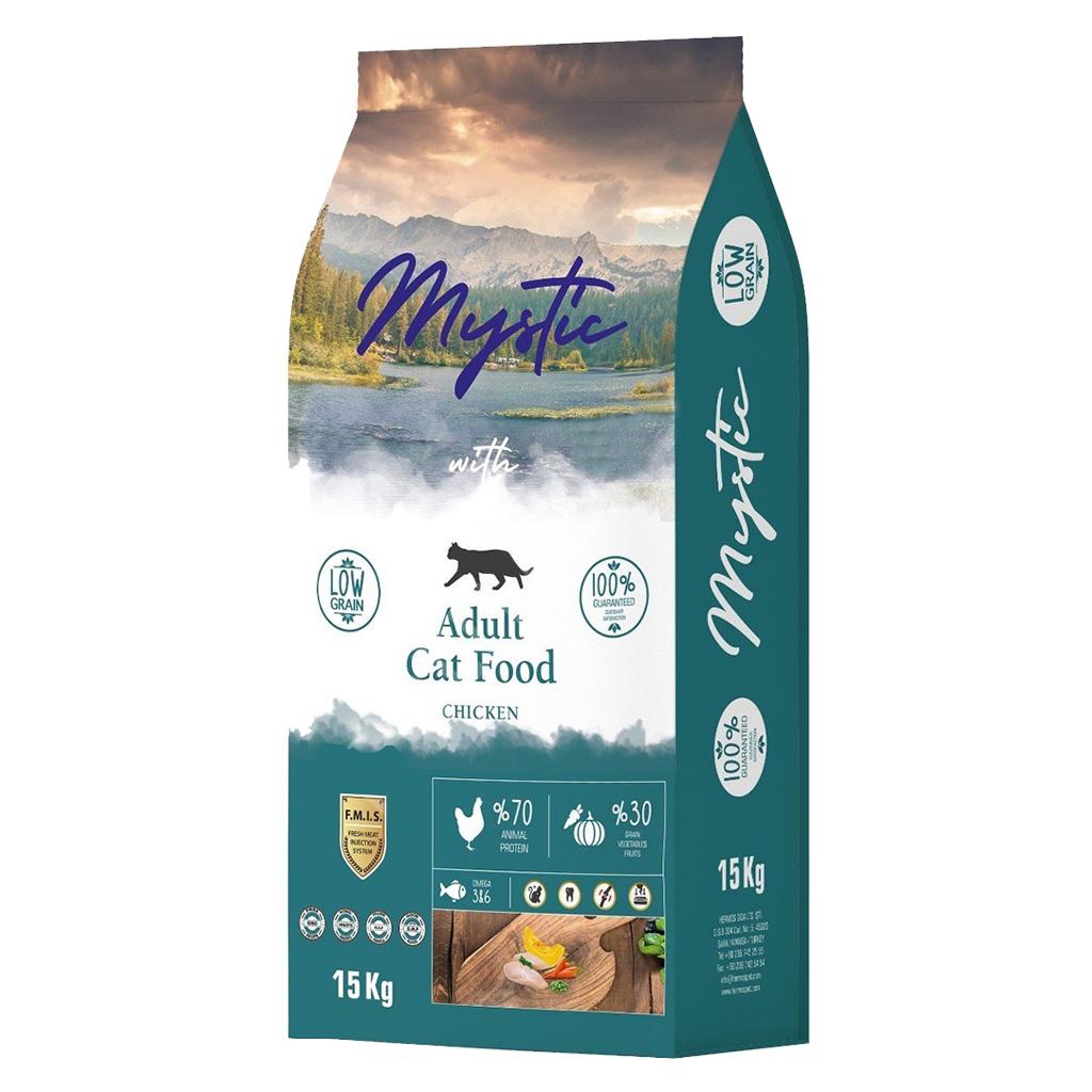 Mystic Az Tahıllı Yetişkin Kedi Maması Tavuklu 15 kg