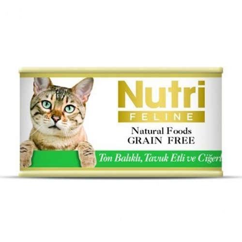 Nutri Feline Ton Tavuk ve Ciğerli Tahılsız Kedi Konservesi 85 Gr
