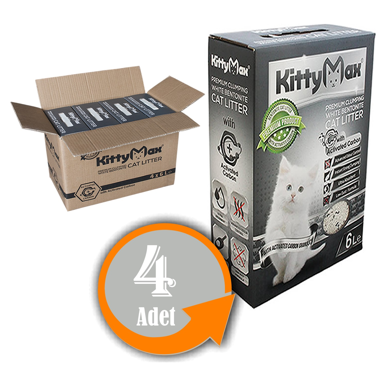 KittyMax Bentonit İnce Taneli Aktif Karbonlu Kedi Kumu 6 lt x 4 Adet