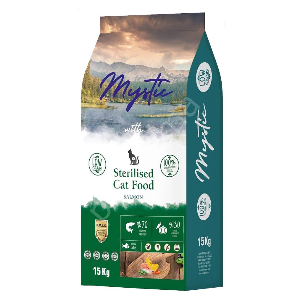 Mystic Az Tahıllı Yetişkin Kedi Maması Kısır Somonlu 15 kg