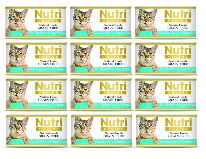 Nutri Ton Balık ve Sardalya Tahılsız Kedi Kons. 85 Gr X 12 Adet