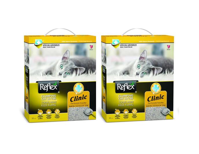 Reflex Clinic Doğal Granüllü Kedi Kumu 10 Lt x 2 Adet