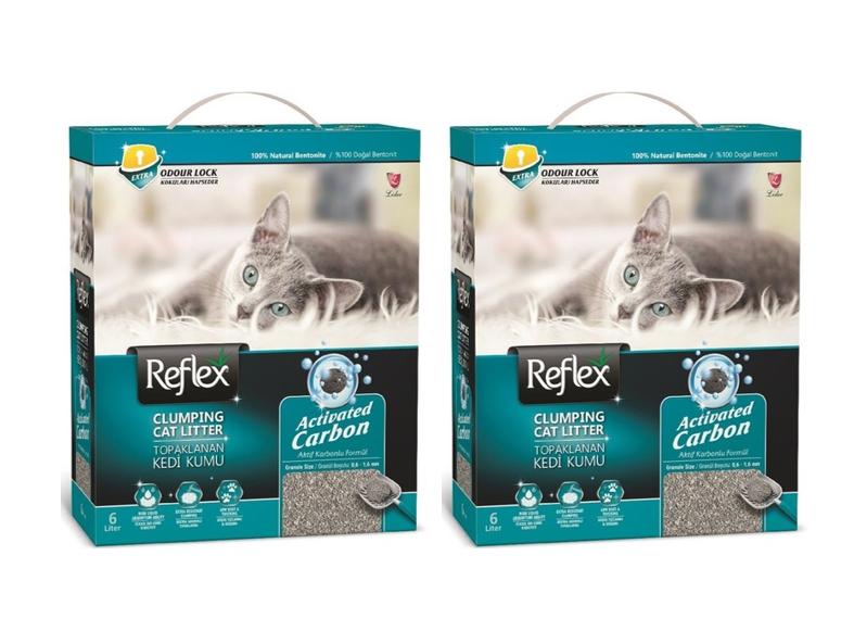 Reflex Aktif Karbonlu Topaklanan Kedi Kumu 6 Lt x 2 Adet