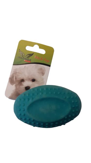 Multimagic Köpek Diş Kaşıma Oyuncağı Sert Oval Top Turkuaz 8 cm