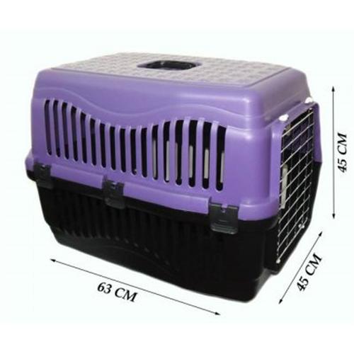 Pratik Kedi/Köpek Taşıma Kabı 63 x 45 x 45 cm Mor (Metal Kapılı)