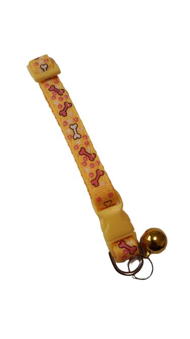 Pratik Zilli Kedi Tasması Sarı 15-25 cm