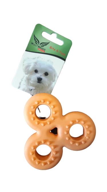 Multimagic Dental Köpek Diş Kaşıma Oyuncağı Stres Çarkı Turuncu 9 cm