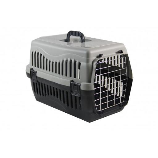 Pratik Kedi-Köpek Taşıma Kafesi Demir Kapı 48,5x32x32 cm Gri