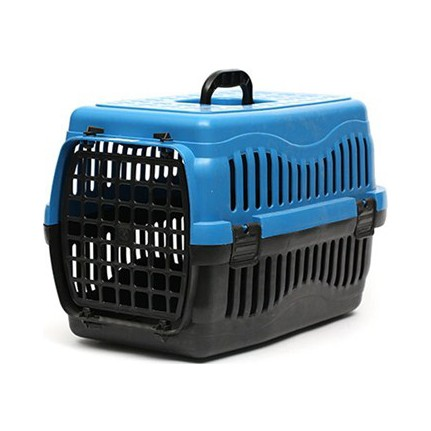 Pratik Kedi/Köpek Taşıma Kabı 63 x 45 x 45 cm Mavi ( Plastik Kapılı )