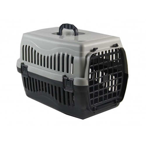 Pratik Kedi/Köpek Taşıma Kabı 63 x 45 x 45 cm Gri ( Plastik Kapılı )
