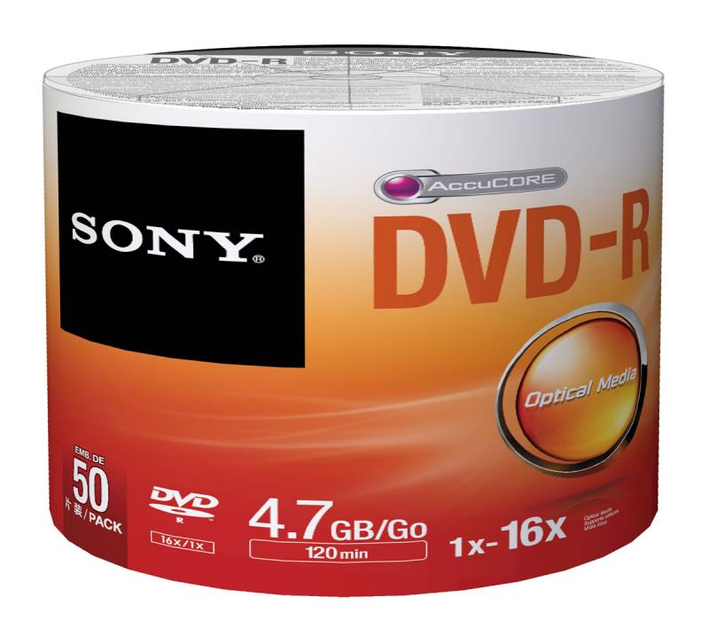 SONY DVD-R 50Lİ 4,7gb-120min 16x SHRİNK ...